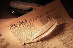 United States Constitution medium shot showing top half and quill pen