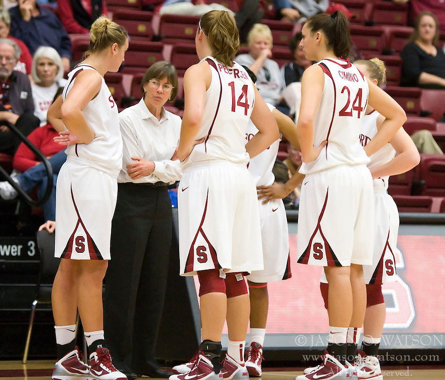 November 1, 2009; Stanford, CA, USA;  Stanford Cardinal head coach Tara VanDerveer talks to her team during the second half against the Vanguard Lions at Maples Pavilion.  Stanford defeated Vanguard 107-49.