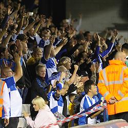 Bristol Rovers fans celebrate  - Mandatory byline: Neil Brookman/JMP - 07966386802 - 18/08/2015 - FOOTBALL - Kenilworth Road -Luton,England - Luton Town v Bristol Rovers - Sky Bet League Two