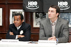 February 8, 2006 - New York, NY - Wladimir Klitschko (r) with trainer Emmanuel Steward (l) during the press conference announcing his upcoming fight against IBF Heavyweight Champion Chris Byrd.  The two fighters will meet on April 22nd for Byrd's IBF and the vacant IBO Heavyweight Championship at the SAP-Arena in Mannheim, Germany.