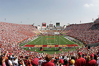 7 October 2006: Wide overall view of the stadium looking east during  NCAA College Football Pac-10 USC Trojans 26-6 win over the Washington Huskies at the LA Coliseum during a sunny saturday game in Los Angeles, CA. Fans fill landmark stadium. College Sports Stadium. Home team is the USC Trojans.<br />