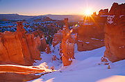 Winter sunrise on Thor's Hammer, Bryce Canyon National Park Utah