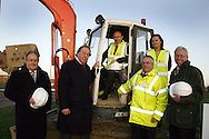 Hosubg Minister John Healey, visits Priors Hall Housing Development in Corby...l-r, Roy Wilson, Bela Partnership, Alfred Butler, BeeBee developments, John Healey MP, Cllr Mark Pengelly, Deputy Leader Corby Borough Council, Margaret Allen, Homes and Communities Agency, Simon Evans, NNDC