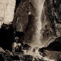 Waterfall in Sixty Lakes Basin, Sierra Nevada of California