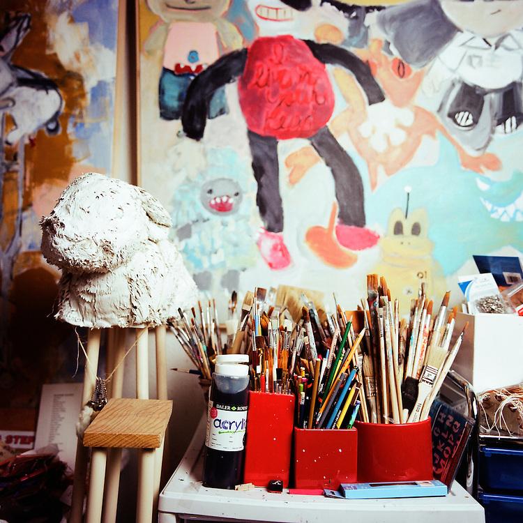 ANCHORAGE, ALASKA - 2012: Artist Julie Decker's studio.