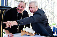 The Rev. Dr. William Matzat, right, points out a feature of the Reformation Altar to LCMS President Rev. Dr. Matthew C. Harrison after chapel Sept. 19, 2016. Matzat is the craftsman responsible for overseeing the project to make a smaller version of the original altar piece that adorns St. Mary's Church in Wittenberg, Germany. LCMS Communications/Frank Kohn