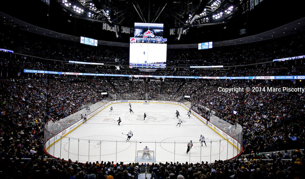 SHOT 3/8/14 3:25:18 PM - A view of the Pepsi Center as the Colorado Avalanche face the St. Louis Blues during their regular season Western Conference game at the Pepsi Center in Denver, Co. The Blues won the game 2-1.<br /> (Photo by Marc Piscotty / &copy; 2014)