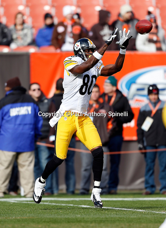 Pittsburgh Steelers wide receiver Plaxico Burress (80) catches a pregame pass before the NFL week 12 football game against the Cleveland Browns on Sunday, Nov. 25, 2012 in Cleveland. The Browns won the game 20-14. ©Paul Anthony Spinelli