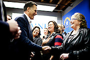GOP presidential candidate Mitt Romney greets employees at Western Nevada Supply in Sparks, Nev., February 3, 20112.