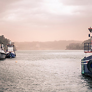 Ferry service at the triple border between Argentina, Brazil and Paraguay seen from Puerto Iguazu, Argentinian side at the conjunction between the rivers Rio Paranà and Rio Iguazu