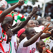 Convention People's Party (CPP) supporters cheer during a rally in Accra, Ghana on Sunday September 21, 2008.