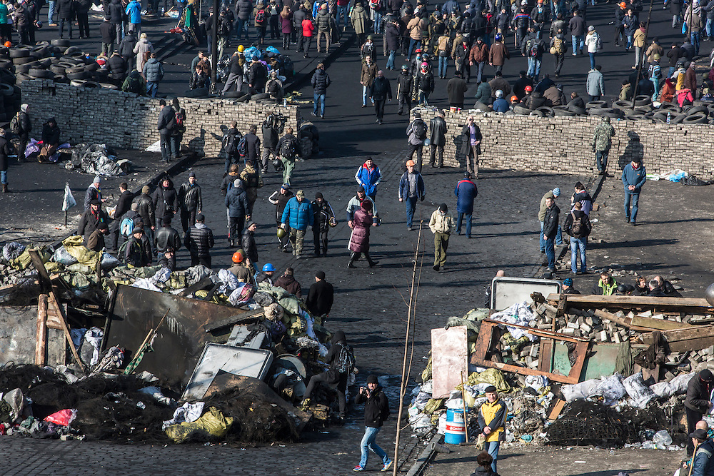 KIEV, UKRAINE - FEBRUARY 21: Barricades erected by anti-government protesters remain in place on Independence Square on February 21, 2014 in Kiev, Ukraine. After a week that saw new levels of violence, with dozens killed, opposition and government representatives reached an agreement intended to resolve the crisis. (Photo by Brendan Hoffman/Getty Images) *** Local Caption ***