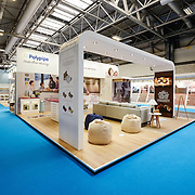 An exhibition stand prior to the opening