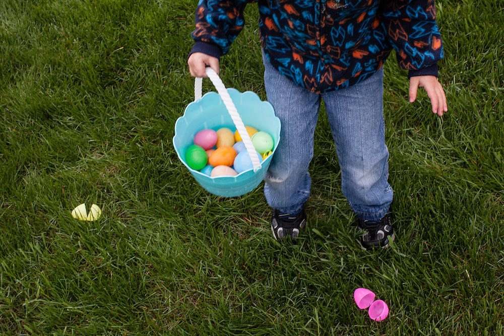 A boy takes part in an Easter Egg hunt at Southfield Wellness Community on Saturday, March 31, 2012 in Webster City, IA.