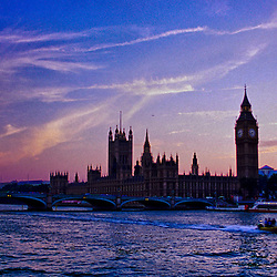 The River Thames at sunset, London, England