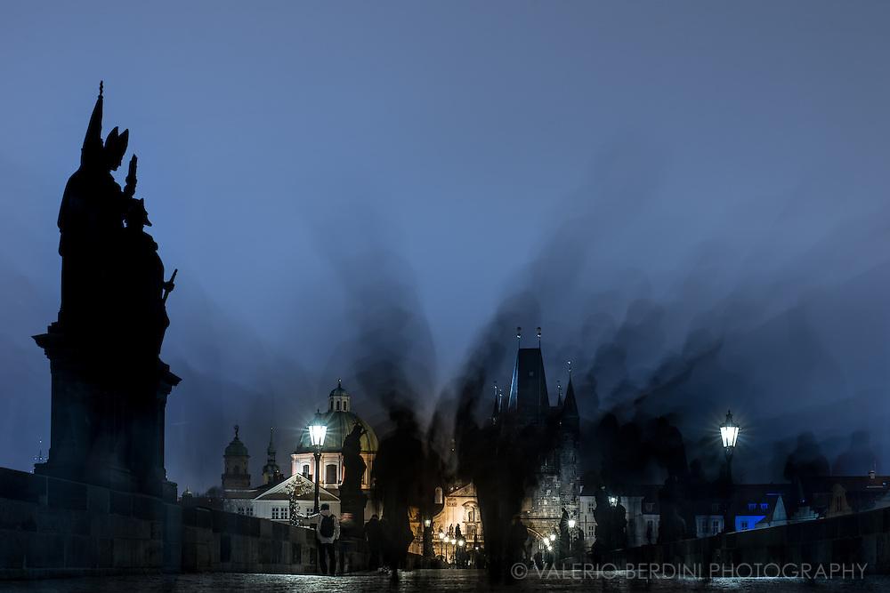Quintessential Prague landscape, Charles Bridge and its statue
