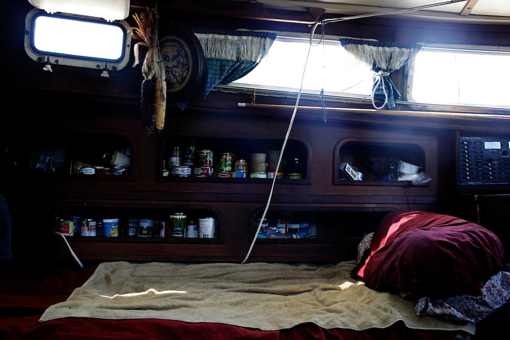 Gerry Raccuia's bed is combined with a pantry. Living on a boat takes the ability to live in tight quarters Raccuia said as kitchens and bedrooms are often only a couple steps apart.