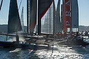 Artemis Racing compete in the official practice for the San Francisco America's Cup World Series regatta. 2/10/2012