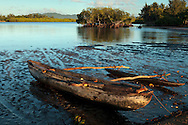 Canoe on the shore of the village of Lutes. Uleveo, Maskelyne Island, Malampa Province, Malekula, Vanuatu