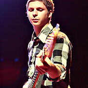 Michael Cera guests at bass performing with Mister Heavenly on November 30, 2010 opening for Passion Pit at the Moore Theatre in Seattle, Washington
