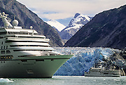 Alaska. Cruise ships in Tracy Arm, Norwegian Windward and Spirit of '98.