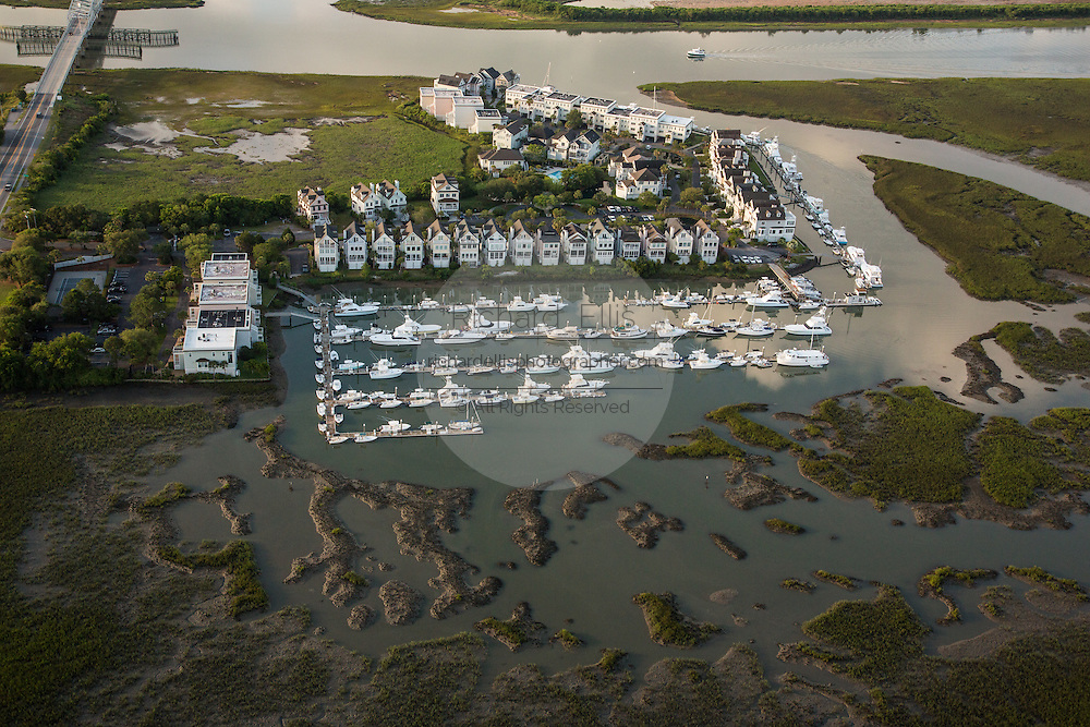 Aerial view of Tolers Cove Marina on the marsh in Mt Pleasant, SC