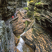 In Watkins Glen, the spellbinding Gorge Trail winds two miles over and under 19 waterfalls of Glen Creek, which descends 400 feet under 200-foot-high cliffs. Watkins Glen State Park is south of Seneca Lake in Schuyler County in the Finger Lakes region New York, USA. The Devonian sedimentary rocks are mostly soft shales, with some layers of harder sandstone and limestone.