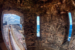 Inside a sentry lookout with my fisheye lens at Fort San Cristobal in Old San Juan, Puerto Rico, March 2011.
