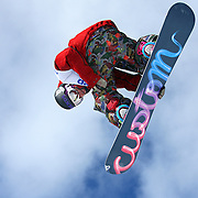 SHOT 1/25/08 12:47:26 PM - Mason Aguirre of Mammoth, Ca. gets airborne between a gap jump during practice for the Snowbaord Slopestyle Elimination event Friday January 25, 2008 at Winter X Games Twelve in Aspen, Co. at Buttermilk Mountain. The 12th annual winter action sports competition features athletes from across the globe competing for medals and prize money is skiing, snowboarding and snowmobile. Numerous events were broadcast live and seen in more than 120 countries. The event will remain in Aspen, Co. through 2010..(Photo by Marc Piscotty / © 2008)