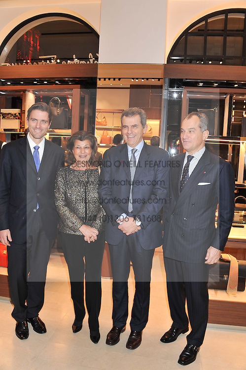 Left to right, JAMES FERRAGAMO, FULVIA VISCONTI FERRAGAMO, FERRUCCIO FERRAGAMO and LEONARDO FERRAGAMO at the Salvatore Ferragamo Old Bond Street Boutique Store Launch on 5th December 2012.