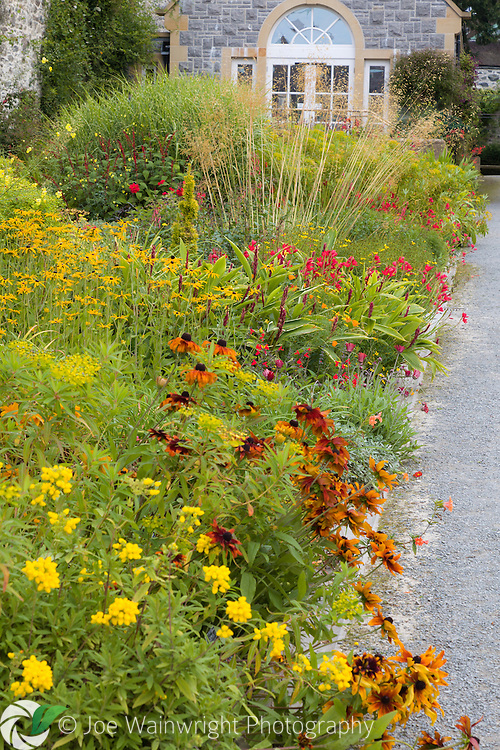Bodnant Gardens, North Wales - a long herbaceous border near the garden entrance is still colourful when photographed in September.