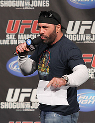 March 18, 2011; Newark, NJ; Joe Rogan gets the fans ready for the weigh-ins for UFC 128 in Newark, NJ.