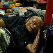 Passengers sleeping on the Indonesian ferry from Padang to Siberut.