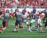 Ole Miss offensive lineman Pierce Burton (71) vs. Arkansas at War Memorial Stadium in Little Rock, Ark. on Saturday, October 27, 2012. Ole Miss won 30-27...