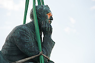 CAPE TOWN, SOUTH AFRICA - Thursday 9 April 2015, a last view of the statue during the removal of the statue of CECIL JOHN RHODES at the University of Cape Town. Rhodes (5 July 1853 &ndash; 26 March 1902) was a British businessman, mining magnate, and politician in South Africa. An ardent believer in British colonialism, Rhodes was the founder of the southern African territory of Rhodesia, which was named after him in 1895. South Africa's Rhodes University is also named after Rhodes. He set up the provisions of the Rhodes Scholarship, which is funded by his estate. <br /> Photo by Roger Sedres/ ImageSA