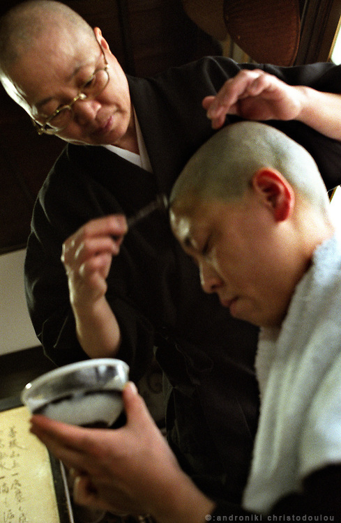 LIVING ZEN - HOSHINJI MONASTERY, OBAMA-JAPAN..Nuns shaving their heads..One day every week is the day off, when the monks have time to take care of them selves. .