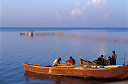 Morning on the island of Kayts off the Jaffna Peninsula. Fishing boat on the lagoon.