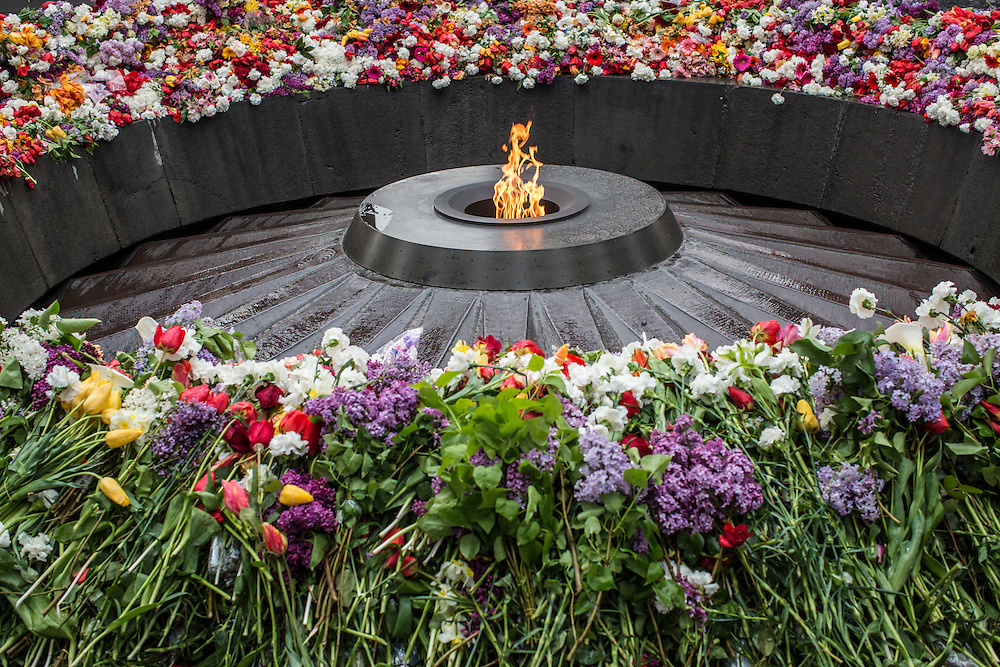 YEREVAN, ARMENIA - APRIL 24: The eternal flame burns at the Armenian genocide memorial on April 24, 2015 in Yerevan, Armenia. Armenians today are marking the one hundredth anniversary of events generally considered to be the start of a campaign of genocide against minority ethnic Armenians living in present-day eastern Turkey by the Ottoman government over fears of their allegiance during World War I. (Photo by Brendan Hoffman/Getty Images) *** Local Caption ***
