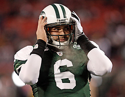 Jan 3, 2010; East Rutherford, NJ, USA; New York Jets quarterback Mark Sanchez (6) during the pregame warmups before their game against the Cinncinati Bengals at Giants Stadium.