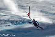 U.S. Ski Team athlete Marco Sullivan skiing to 18th place in the Birds of Prey Alpine Downhill ski race at The Beaver Creek Resort in Avon, CO on November 30, 2012.