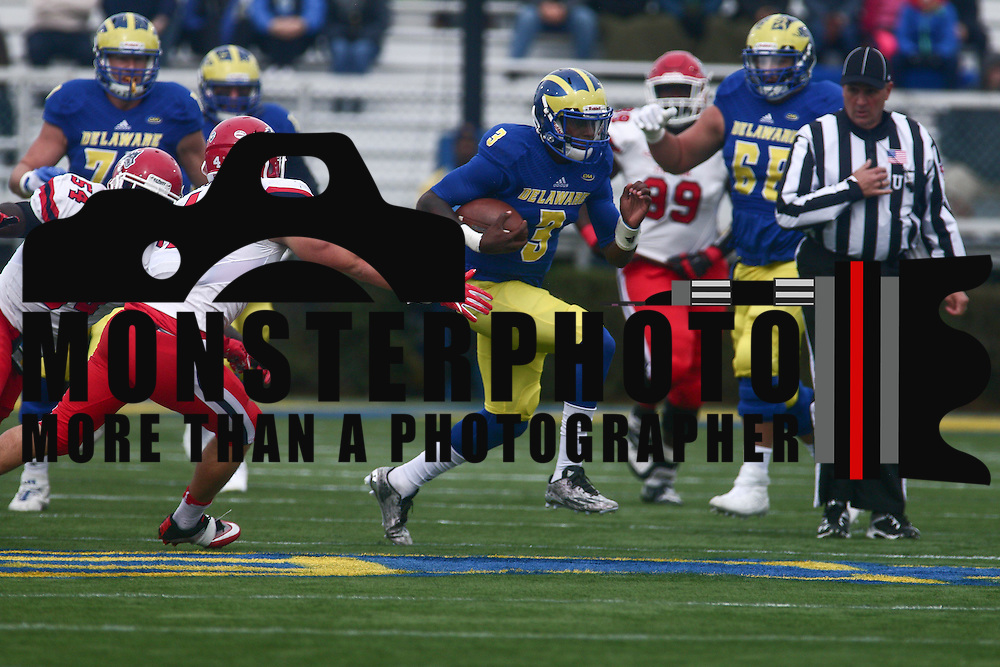 Delaware quarterback JOE WALKER (3) rushes for 14 yards during a week eight game between the Delaware Blue Hens and the Stony Brook Seawolves, Saturday, Oct. 22, 2016 at Tubby Raymond Field at Delaware Stadium in Newark, DE.