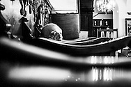 September 2015. Thessaloniki. A man listen a mass in one of the biggest orthodox churches in Thessaloniki.