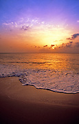 Image of the beach at sunset on French Saint Martin, Caribbean
