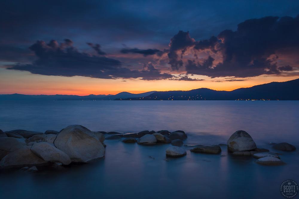 """Tahoe Boulders at Sunset 14"" - Photograph taken at sunset of boulders near Hidden Beach, Lake Tahoe."