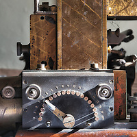 Selector dial on a punch paper tape reader.
