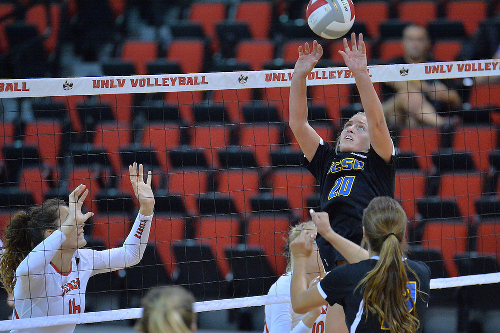August 26, 2016; Las Vegas, Nev.; UC Santa Barbara defensive specialist Lexi Rottman (20) sets a ball during a match between the UNLV Lady Rebels and UC Santa Barbara Gauchos. UNLV defeated UCSB 3-0.