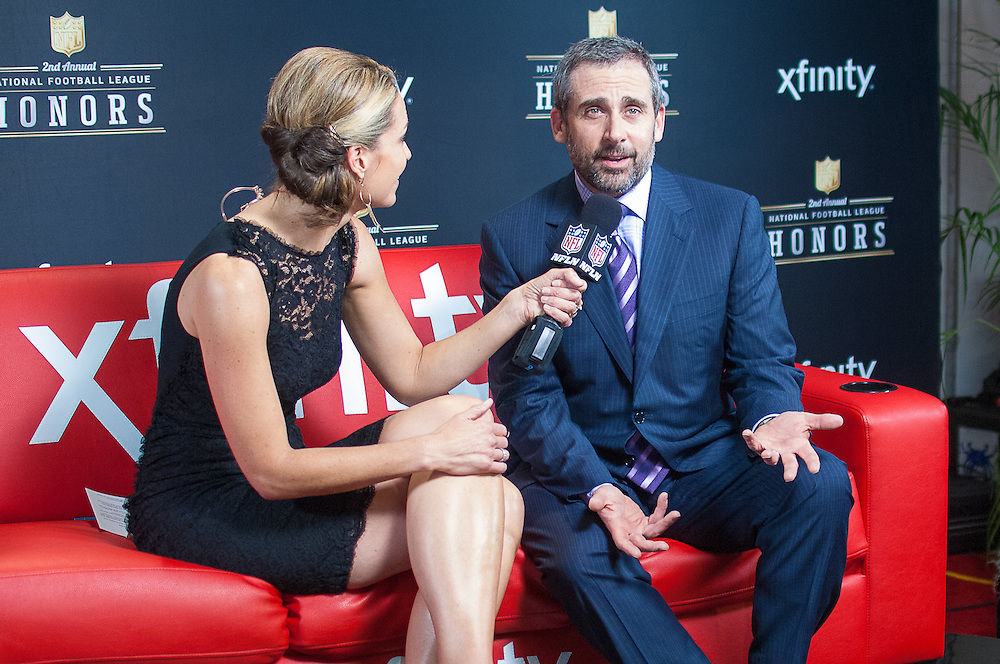 Steve Carell being interviewed by NFL networks Alex Flanagan at the Mahalia Jackson Theatre NFL Honors in New Orleans, Louisiana on Feb.2 2013.