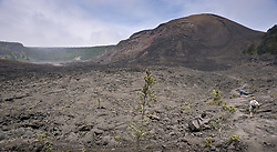 Hikers hike along the Kilauea Iki Trail on the bottom of the Kilauea Iki crater in Hawaii Volcanoes National Park on the Big Island of Hawaii. The large hill is the cinder and spatter cone Pu'u Pua'i (gushing hill) is from the Kilauea Iki eruption in 1959. During that eruption, fountains of lava shot into the sky as high as 1,900 feet from the eruption vent at the left base of the hill.