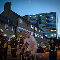 UK. London. Six people died and 30 people were rescued from the blaze at the 12-storey Lakanal House on the Sceaux Gardens Estate in Camberwell, South East London..Photo©Steve Forrest/Workers' Photos