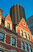 CHICAGO, LOOP ARCHITECTURE Marina Towers rising above vintage building